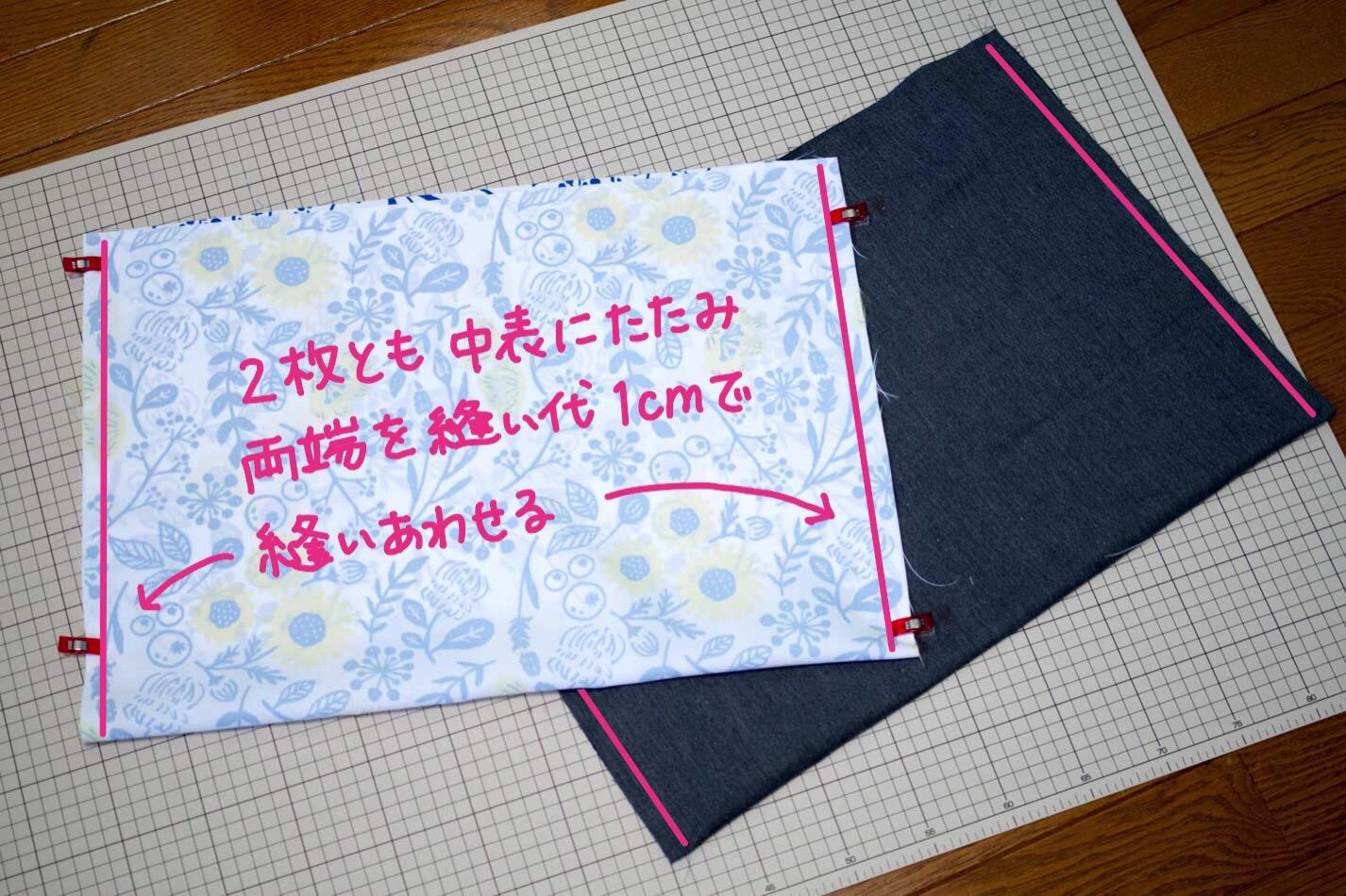 両端を縫い代1cmで縫い合わせ