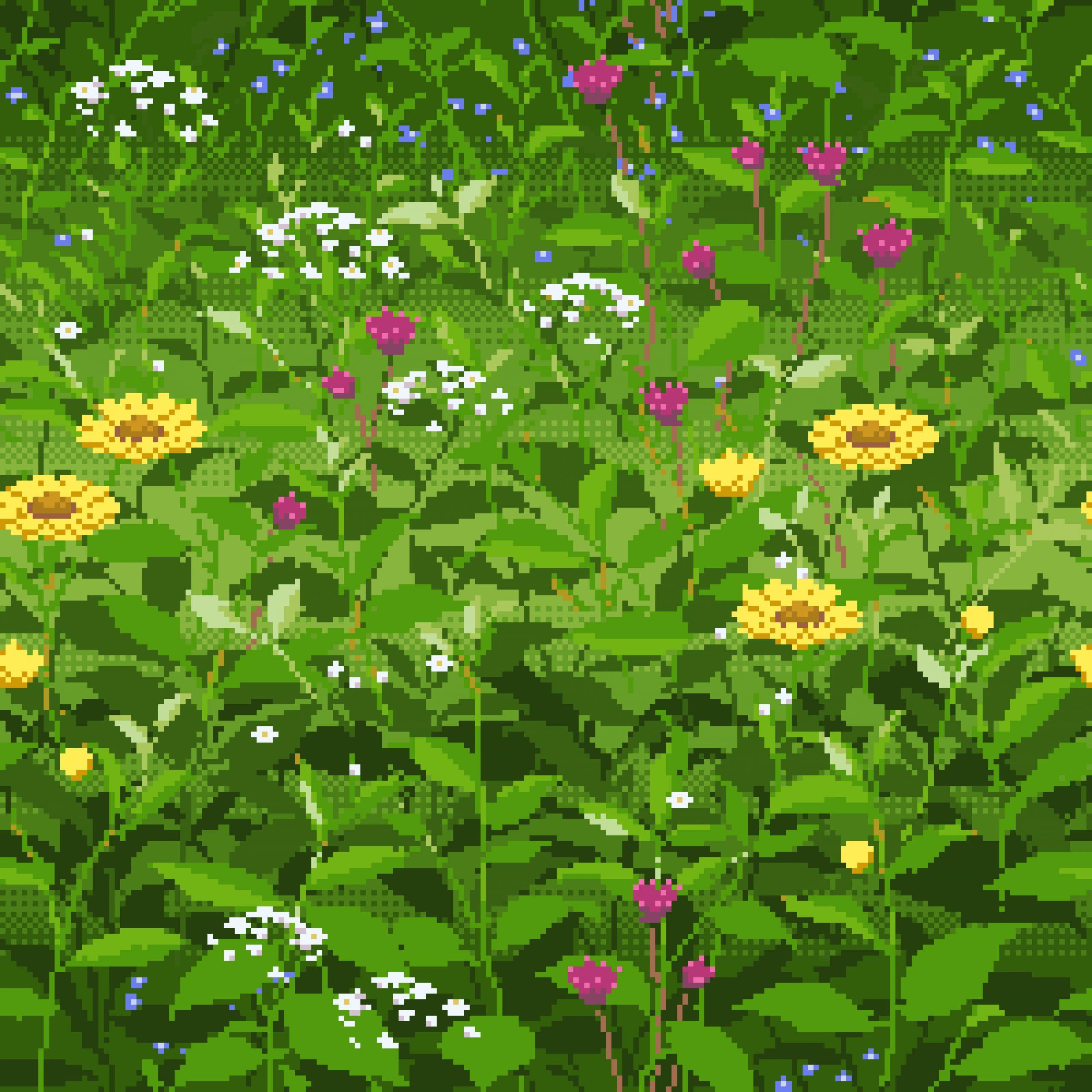 春の草地 pixelart
